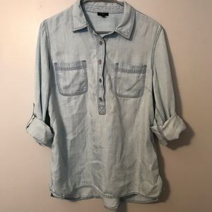 Talbots Chambray Popover Top Petite Large